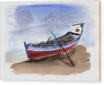 Fishing Boat Wood Print by Anselmo Albert Torres