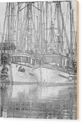 Fishing Boat Sketch Wood Print by Richard Farrington