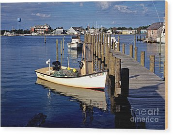 Fishing Boats At Dock Ocracoke Village Wood Print by Thomas R Fletcher