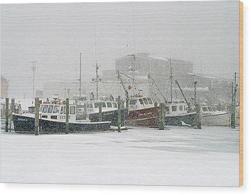 Fishing Boats During Winter Storm Sandwich Cape Cod Wood Print by Matt Suess