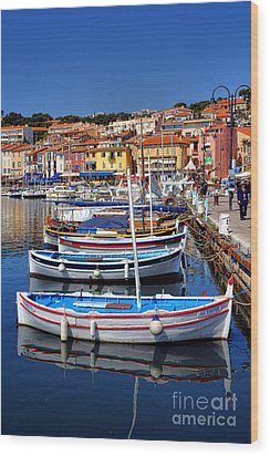Wood Print featuring the photograph Fishing Boats In Cassis by Olivier Le Queinec