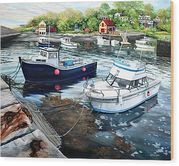 Fishing Boats In Lanes Cove Gloucester Ma Wood Print
