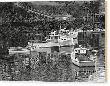 Wood Print featuring the photograph Fishing Boats In Maine Port by Olivier Le Queinec