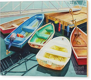 Fishing Boats Wood Print by Karen Fleschler