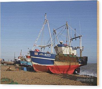 Fishing Boats On Hastings Stade Wood Print by Terri Waters