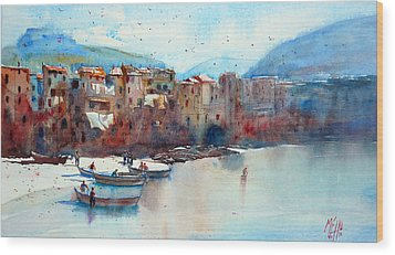 Fishing Boats On The Beach Of Cefalu Wood Print by Andre MEHU