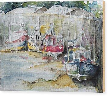 Fishing Boats Settled Aground During Ebb Tide Wood Print by Barbara Pommerenke