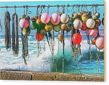Wood Print featuring the photograph Fishing Buoys by Terri Waters