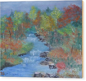 Wood Print featuring the painting Fishing Creek by Denise Tomasura