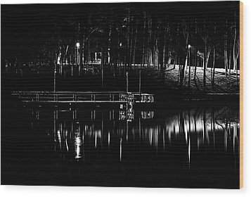 Wood Print featuring the photograph Fishing Dock At Night 2017  by Thomas Young