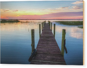 Wood Print featuring the photograph Fishing Dock At Sunrise by Debra and Dave Vanderlaan