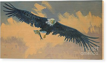 Fishing Eagle Wood Print by Donald Maier