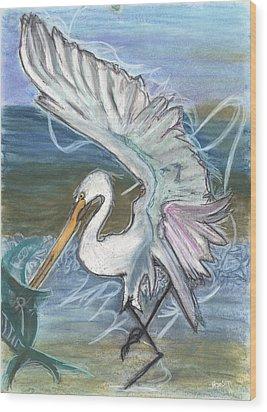 Fishing Egret Wood Print by Stu Hanson