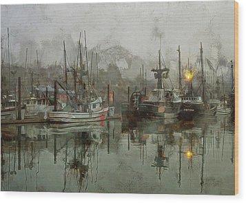 Fishing Fleet Dock Five Wood Print