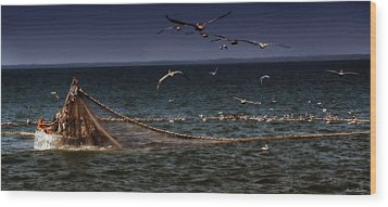 Fishing For Menhaden On The Chesapeake Bay Wood Print