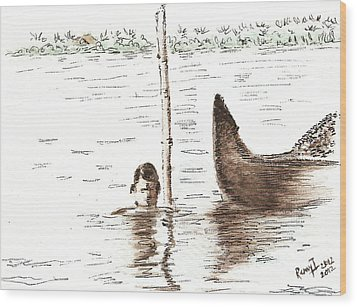 Fishing For Shellfish Wood Print by Remy Francis