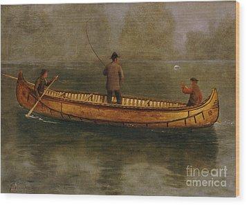 Fishing From A Canoe Wood Print by Albert Bierstadt