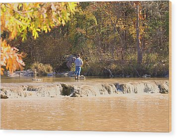Wood Print featuring the photograph Fishing In Fall by Sheila Brown