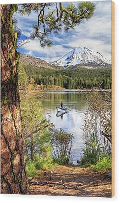 Wood Print featuring the photograph Fishing In Manzanita Lake by James Eddy