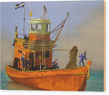 Fishing In Orange Wood Print
