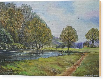 Fishing In The Wye Valley Wood Print by Andrew Read