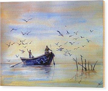 Fishing Wood Print