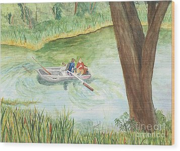 Wood Print featuring the painting Fishing Lake Tanko by Vicki  Housel