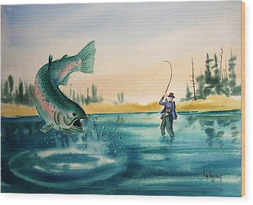 Fishing Montana Wood Print by Kevin Heaney