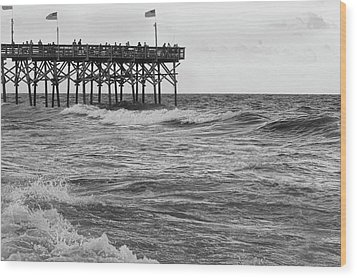 Wood Print featuring the photograph Fishing Off The Pier At Myrtle Beach by Chris Flees