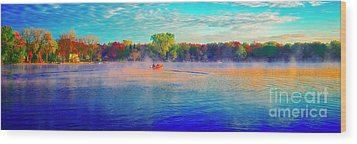 Fishing On Crystal Lake, Il., Sport, Fall Wood Print