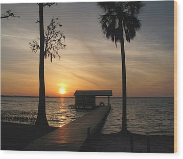 Wood Print featuring the photograph Fishing Pier At Dusk by Peg Urban