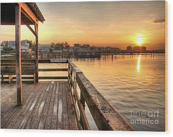 Fishing Pier Wood Print by John Loreaux
