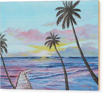 Fishing Pier Sunset Wood Print