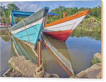 Fishing Pirogues  Wood Print