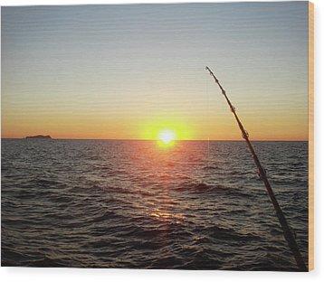 Fishing Pole Taken On 35mm Film Wood Print