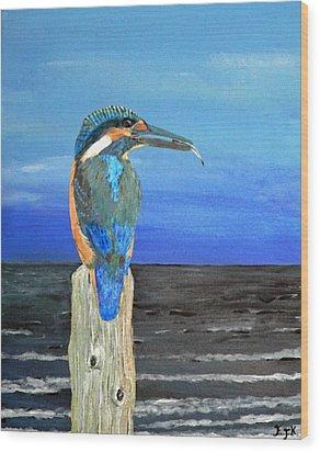 Fishing Post Kingfisher Of Eftalou. Wood Print by Eric Kempson