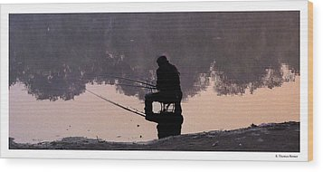 Fishing Wood Print by R Thomas Berner