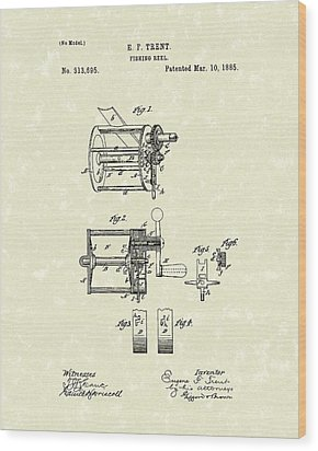 Fishing Reel 1885 Patent Art Wood Print by Prior Art Design