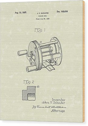 Fishing Reel 1937 Patent Art Wood Print by Prior Art Design