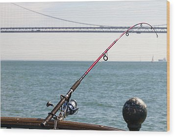 Fishing Rod On The Pier In San Francisco Bay Wood Print