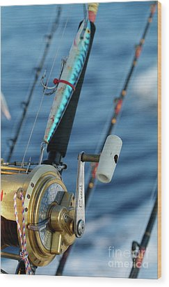 Fishing Rods Onboard A Boat In The Mediterranean Sea Wood Print by Sami Sarkis