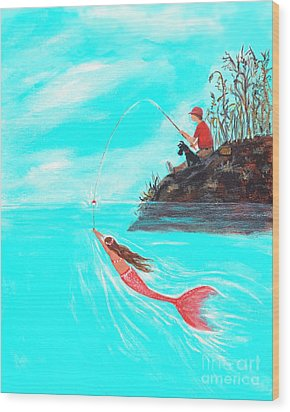 Wood Print featuring the painting Fishing Surprise by Leslie Allen