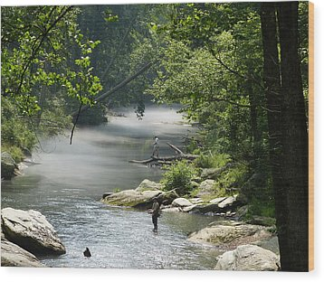 Wood Print featuring the photograph Fishing The Gunpowder Falls by Donald C Morgan
