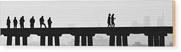 Fishing The San Francisco Skyline Wood Print by Steve Siri