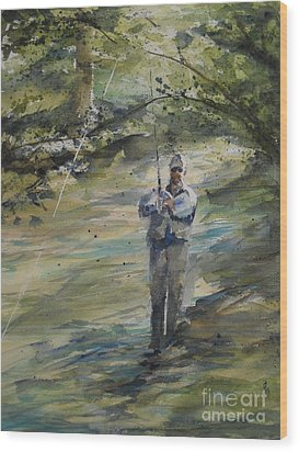 Fishing The Sturgeon Wood Print by Sandra Strohschein