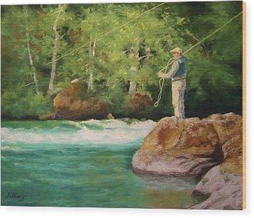 Fishing The Umpqua Wood Print