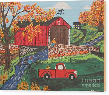 Wood Print featuring the painting Fishing Under The  Covered Bridge by Jeffrey Koss
