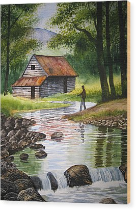 Fishing Upstream Wood Print