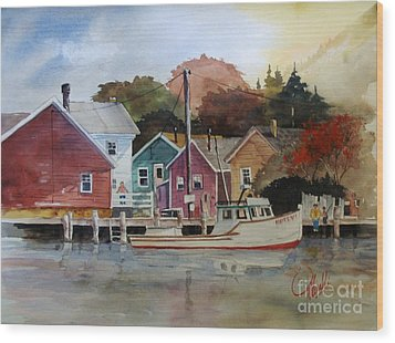 Fishing Village Wood Print