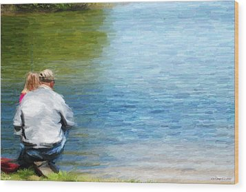 Fishing With Grandpa Wood Print by Lila Fisher-Wenzel